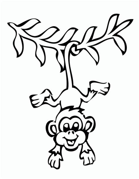 Easy Monkey Coloring Pages | monkey template animal templates free premium templates