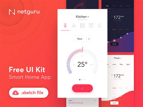 smart home app design kit for sketch freebiesui smart home app ui kit free sketch freebie supply