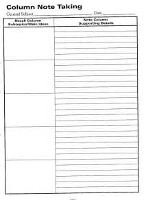cornell note taking template word 7 best images of cornell notes template printable