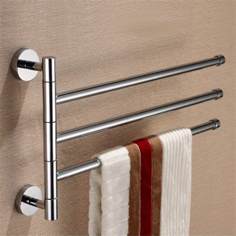 wall mounted bathroom towel rack brass 3 rod rotating bathroom towel bar clothes rack
