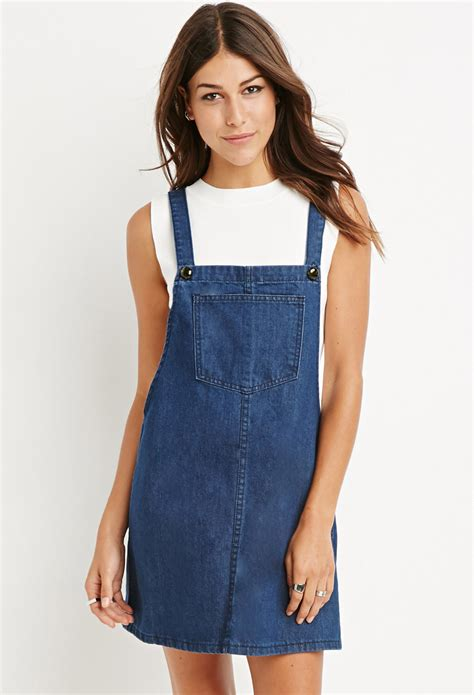 Dress Overall Overall lyst forever 21 denim overall dress in blue