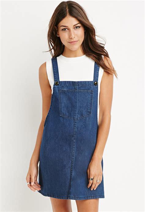Overall Dress Denim lyst forever 21 denim overall dress in blue