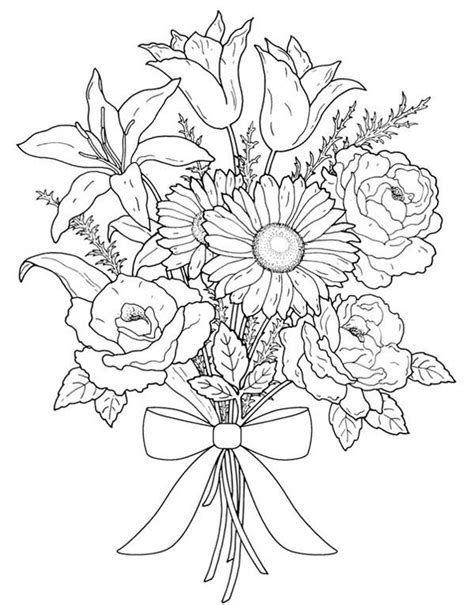 coloring pages of bouquet of flowers flower bouquet for valentine day coloring page color luna