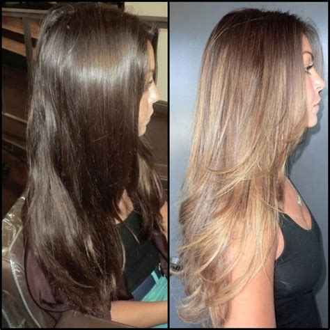 brown on blonde hair fade dark brown hairs before and after dark brown to caramel high lights