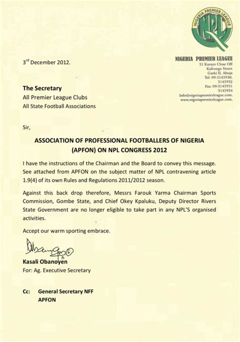 appointment letter nigeria fresh crisis rocks nigeria premier league two top members