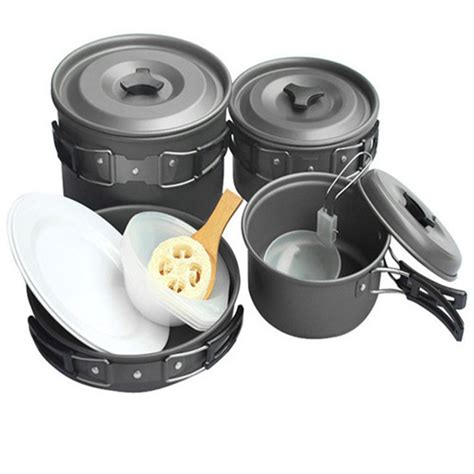 aluminum cing hiking cookware backpacking cooking picnic bowl pot pan set for 5 6 person in