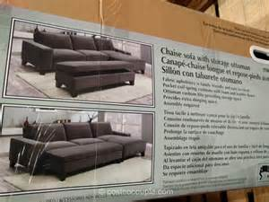 fabric chaise sofa with storage ottoman