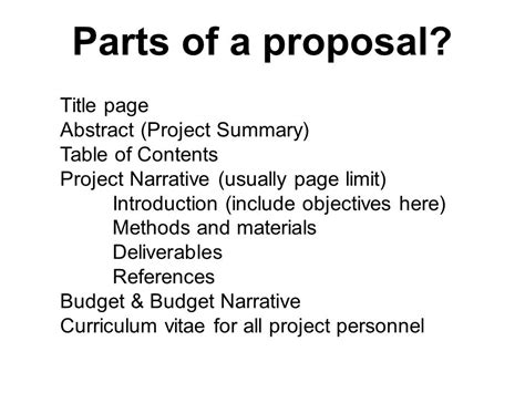 sections of a project proposal mare 103 mop proposal lecture ppt video online download