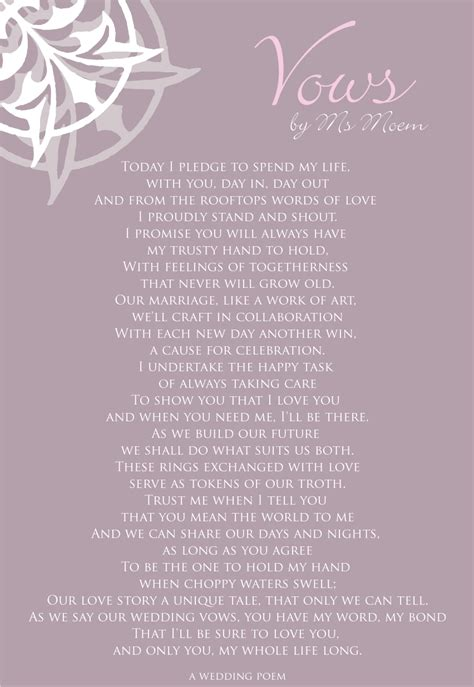 Wedding Vows Poetry by Vows A Wedding Poem Ms Moem Poems Etc