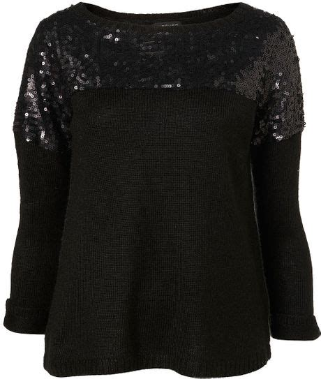 Preview Lupfer And Ashish For Topshop topshop knitted sequin yoke jumper in black lyst