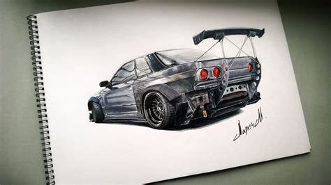 nissan skyline drawing drawing nissan skyline gtr r32 youtube