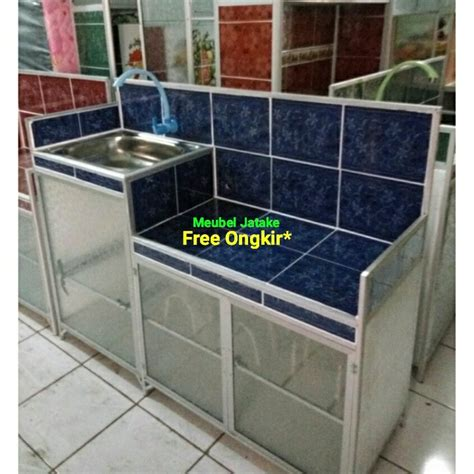 Jual Rak Piring Bagus Besar Murah jual wastafel pk meja kompor keramik biru aluminium rak piring di lapak meubel jatake meubeljatake