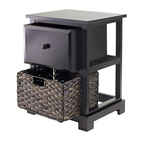 Accent Table With Baskets | casablanca espresso accent table with folding basket 92917