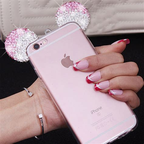 Casing Mickey Mouse Iphone 6 6s 7 7s 7 7s high quality 3d mickey mouse ear for iphone 6 6s 4 7 inch rhinestone ears soft transparent