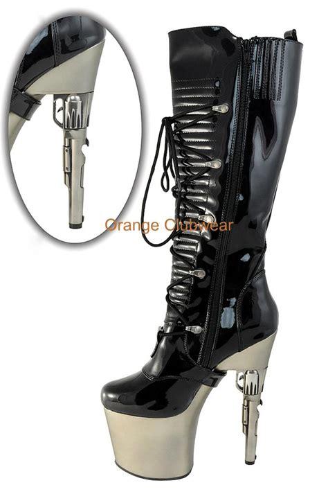 pleaser bondgirl gun heel platform knee high