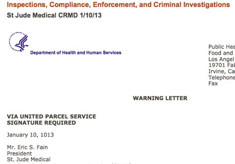 press release warning letter fda releases st jude warning letter