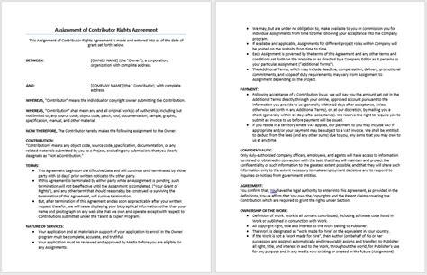 contributor agreement template assignment of contributor rights agreement template