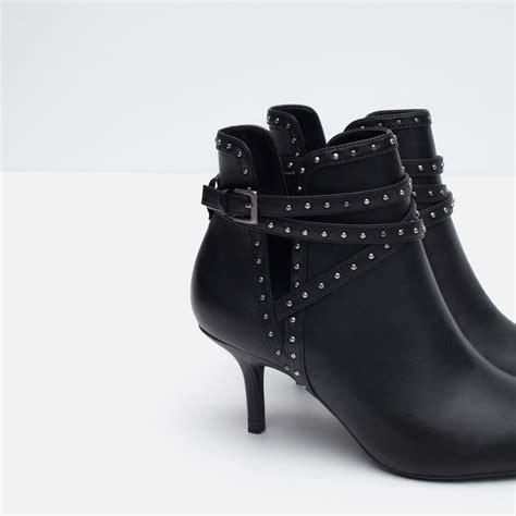 zara high heel studded ankle boots in black lyst