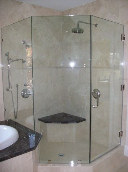 How To Build A Corner Shower Bench by Dual Corner Shower With Bench Bathroom