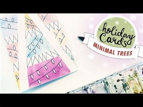 youtube watercolor christmas cards tutorials card 2 illustrated watercolor trees easy beginner tutorial