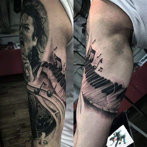 tattoo near arm 60 piano tattoos for men music instrument ink design ideas