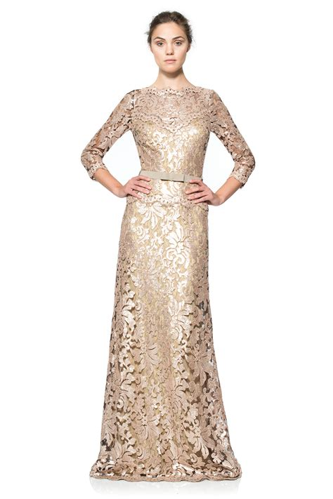 Embroidered Gown paillette embroidered lace 190 sleeve gown tadashi shoji