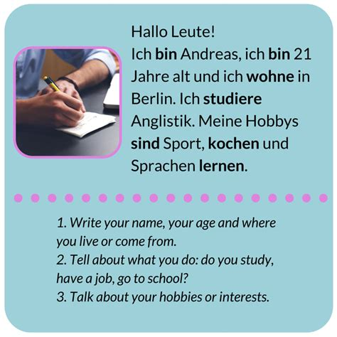 Introduction Letter In German German A1 Speaking Test