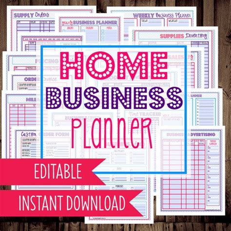 printable home business planner home business planner printable home business etsy