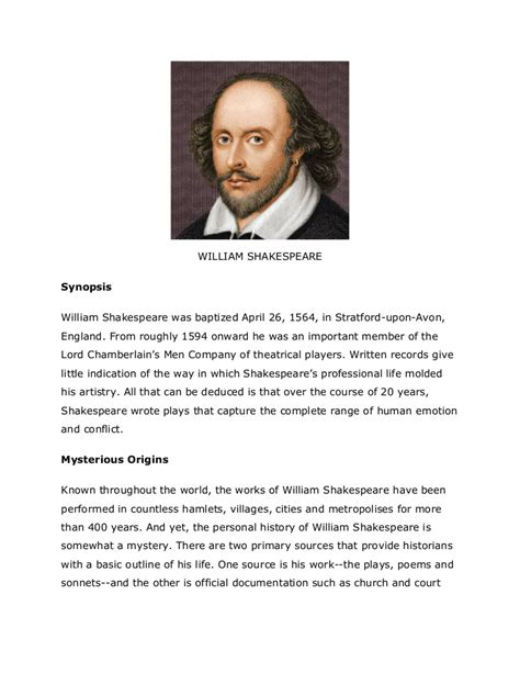 william shakespeare biography in simple english william shakespeare