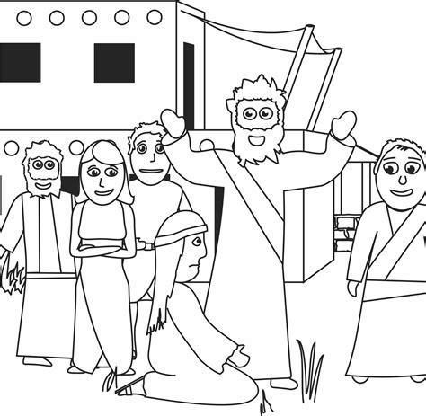 coloring page jesus heals bleeding my children s curriculum