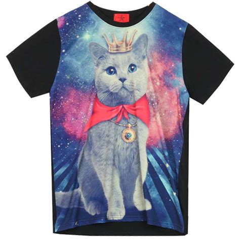 galaxy pattern t shirt galaxy t shirt with cat graphic print funky rock punk
