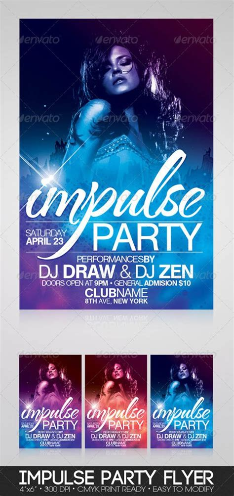 flyer templates graphicriver impulse party flyer