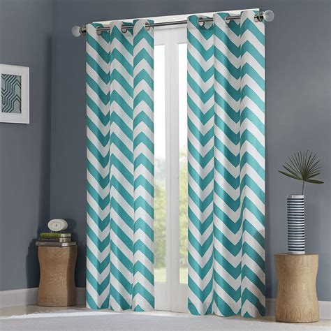 teal curtain modern blue teal white chevron stripe darkening curtain