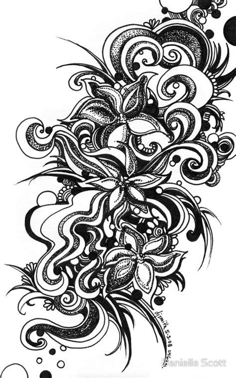 black pen doodles quot flowers black and white doodle pen and ink quot by danielle