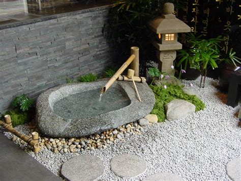 zen water garden water basin arrangement in entrance fountains zen