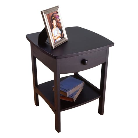 black side table bedroom end accent night stand bedside winsome wood end table night stand with drawer and shelf