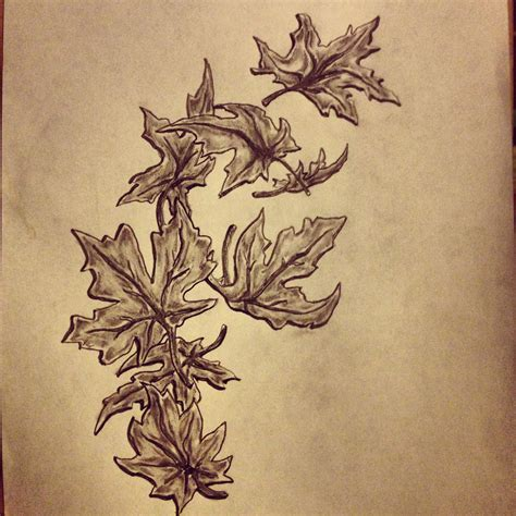 leaves tattoo fall maple leafs sketch by ranz