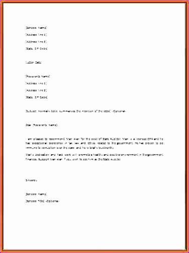 Endorsement Letter Exle