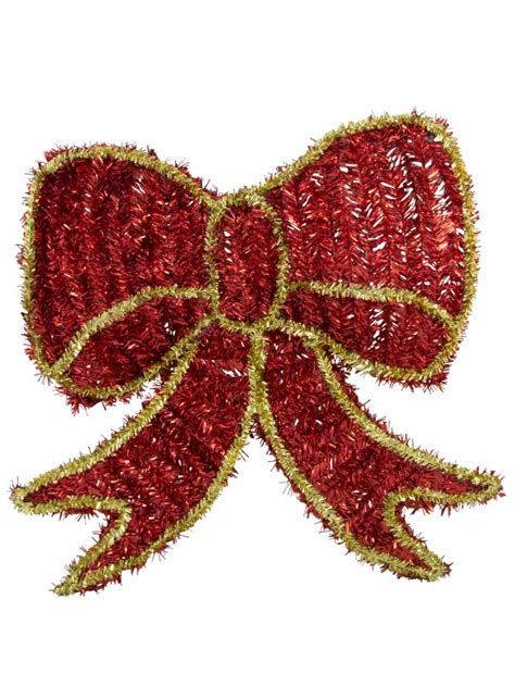metallic tinsel large bow hanging decoration 40cm