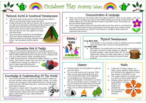 outdoor play activity ideas sheet mindingkids