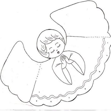 printable christmas angel cone trace cut out two