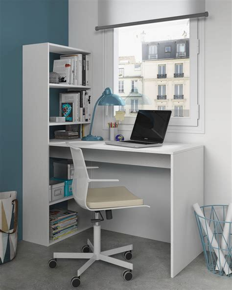 white desk with bookshelf duplex floating desk with bookshelf in white by