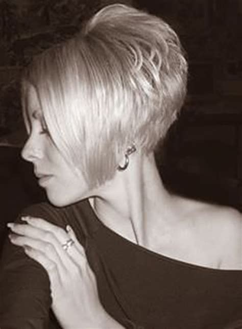 severe wedge haircut stacked feathered bob haircut back view short hairstyle 2013