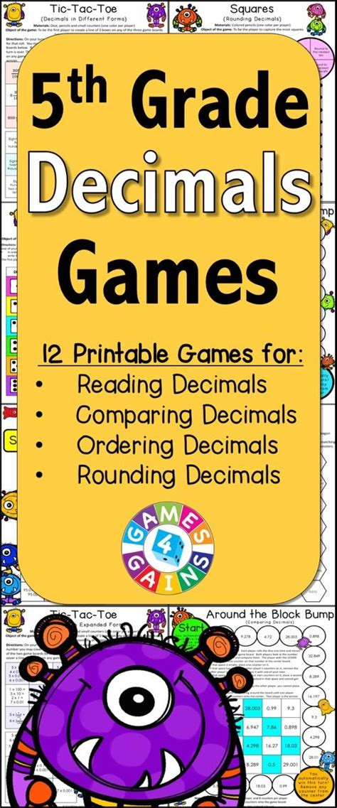 printable math board games for 6th grade decimals games for 5th grade contains 13 fun and engaging
