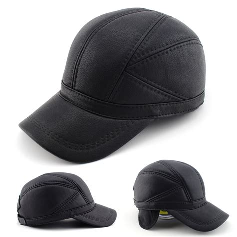 high quality faux leather hat genuine winter leather hat