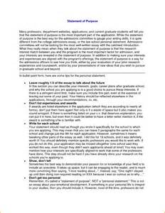 what is the purpose of a template exles of statement statement of purpose graduate school