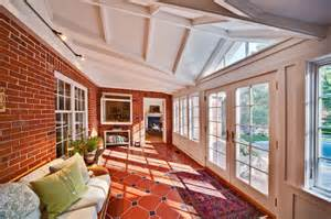traditional style sunroom includes doors and