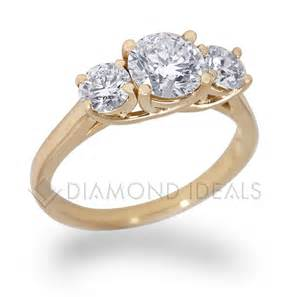 gold engagement ring diamondideals three trellis engagement ring in yellow gold