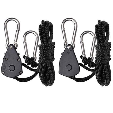 Rope Hangers - 2pc grow light rope hanger ratchet reflector hangers 150lb