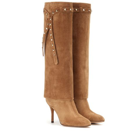suede high boots valentino embellished suede knee high boots in brown lyst